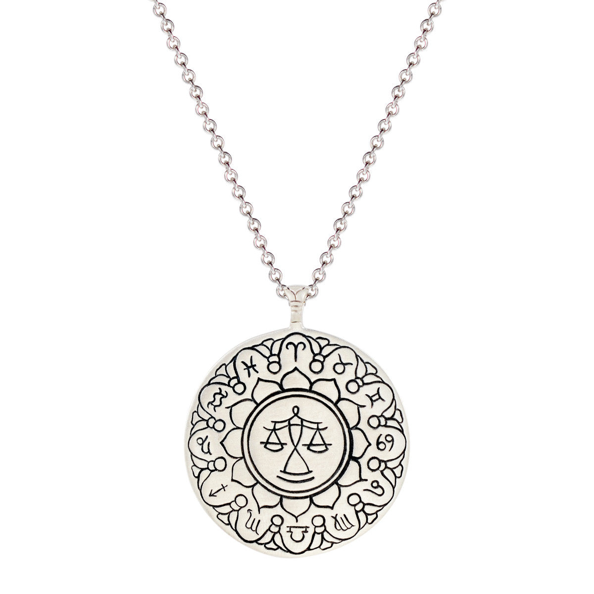 Sterling Silver Large Libra Astrology Pendant