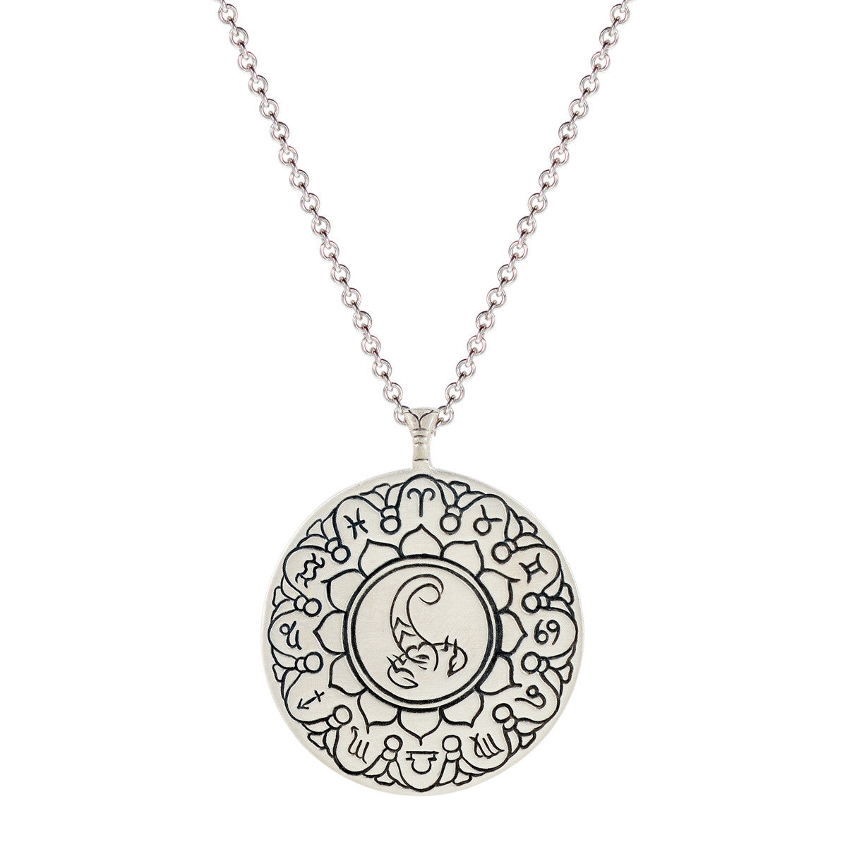 Sterling Silver Large Scorpio Astrology Pendant