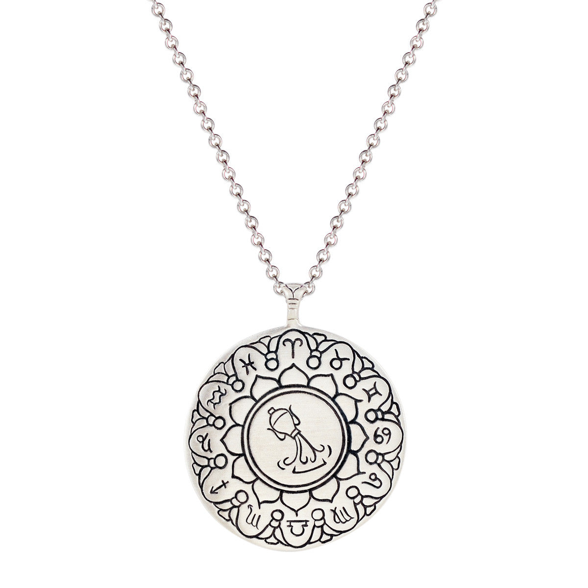 Sterling Silver Large Aquarius Astrology Pendant