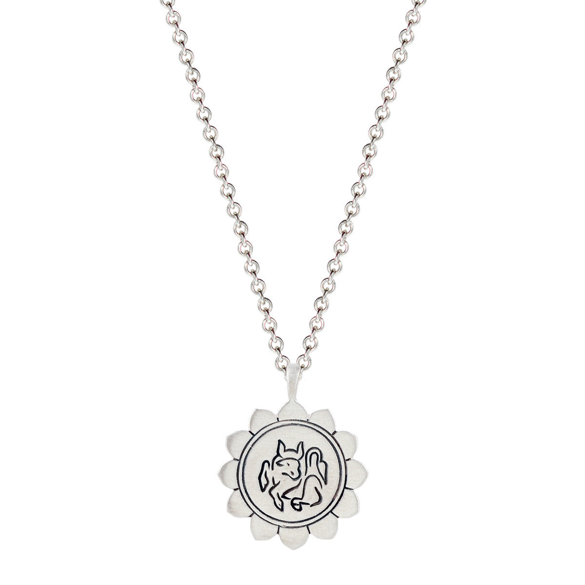 Sterling Silver Medium Taurus Lotus Astrology Pendant