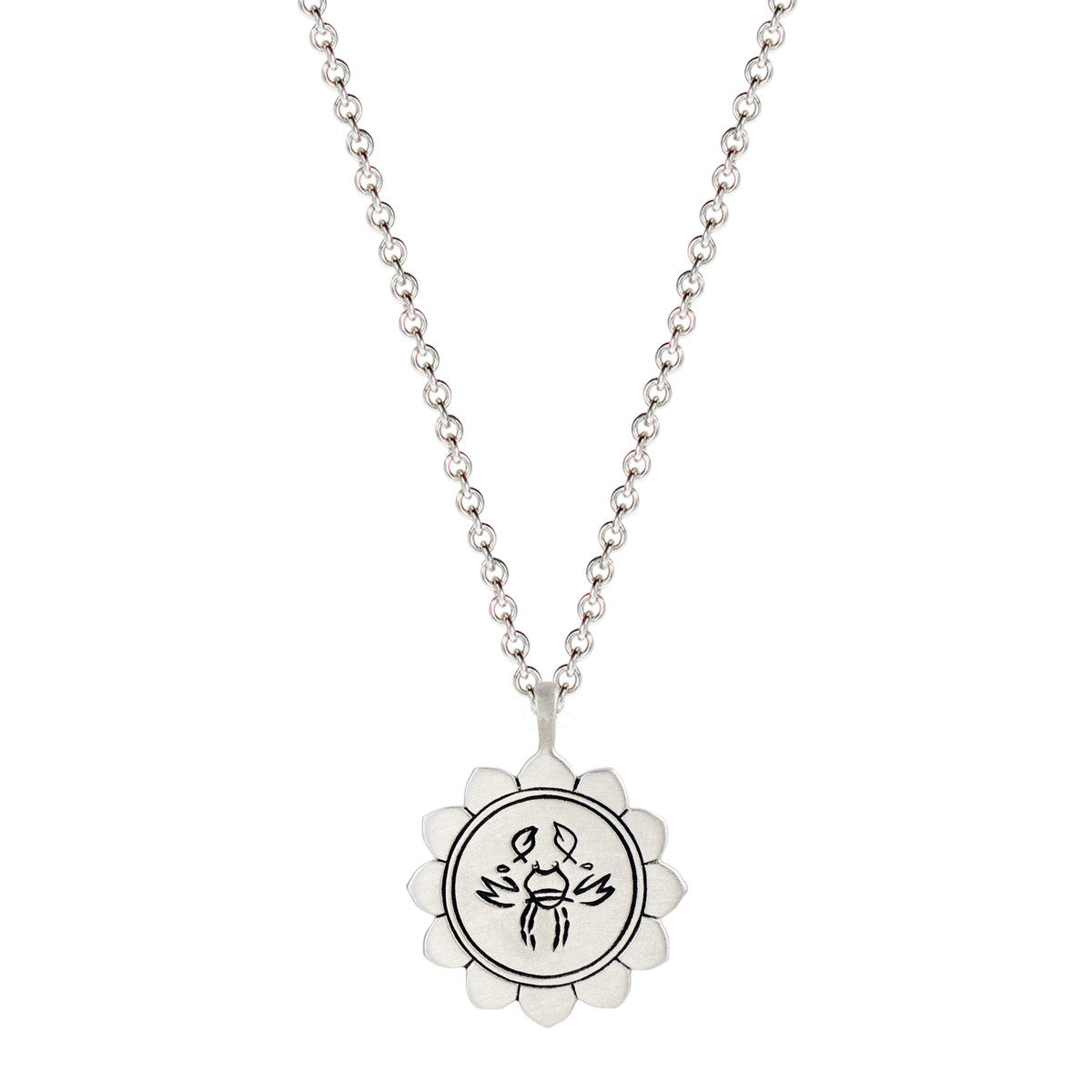 Sterling Silver Medium Lotus Cancer Astrology Pendant