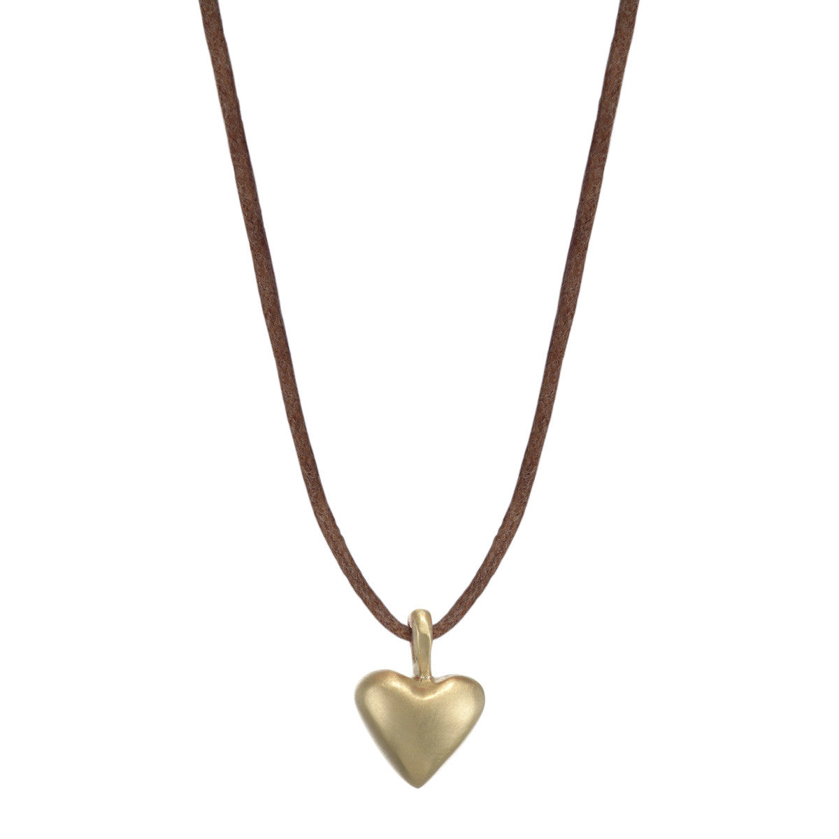 10K Gold Medium Heart on Natural Cord