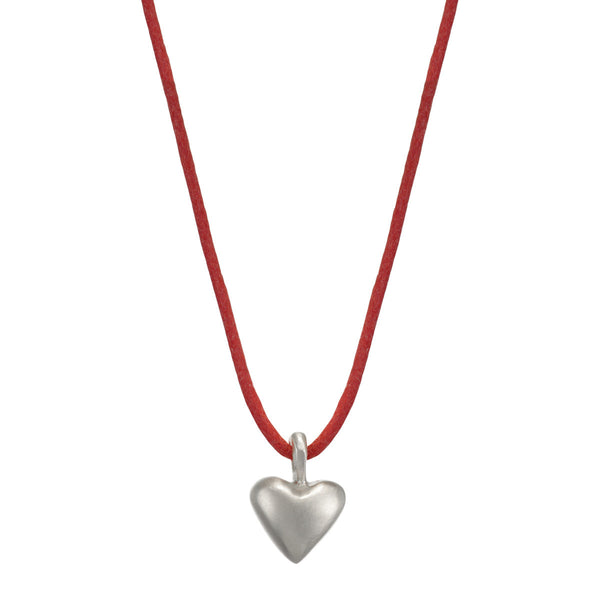 Sterling Silver Medium Heart Pendant on Red Cord