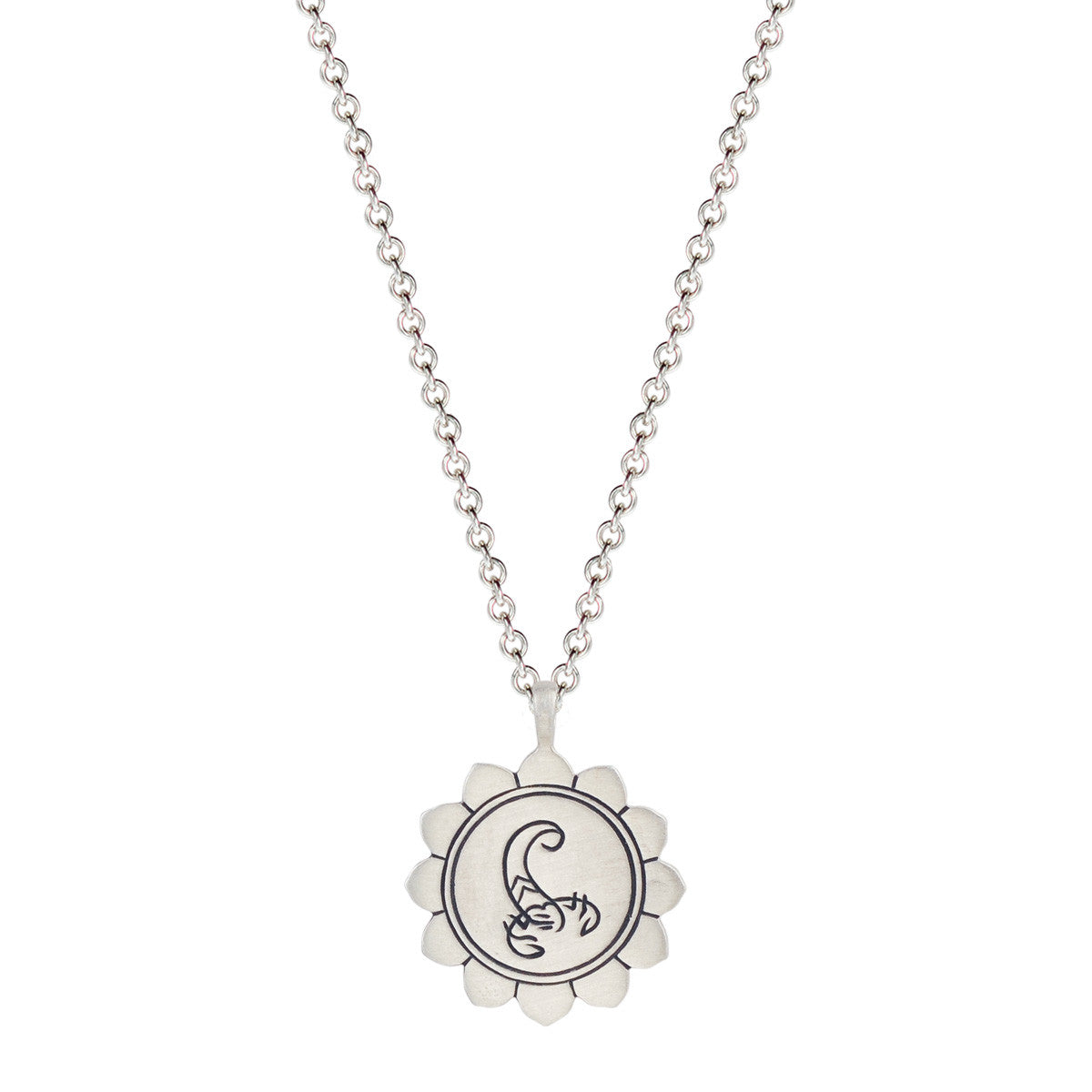 Sterling Silver Medium Lotus  Scorpio Astrology Pendant