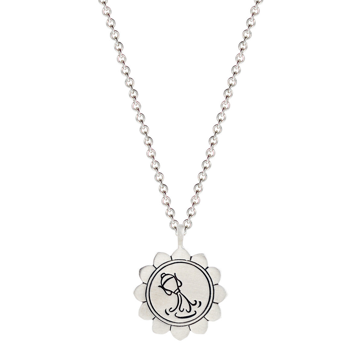 Sterling Silver Medium Lotus Aquarius Astrology Pendant