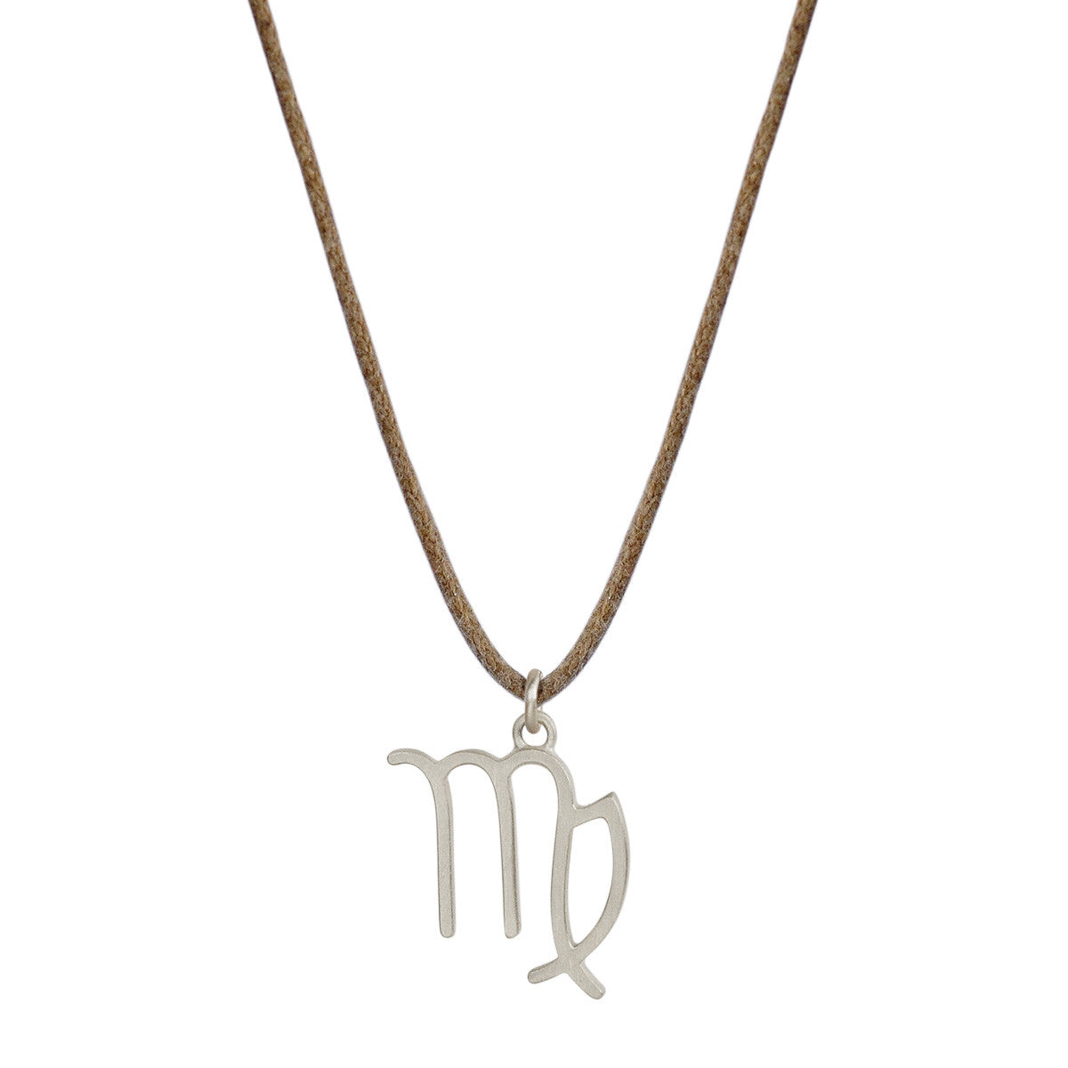Sterling Silver Virgo Symbol Pendant on Cord