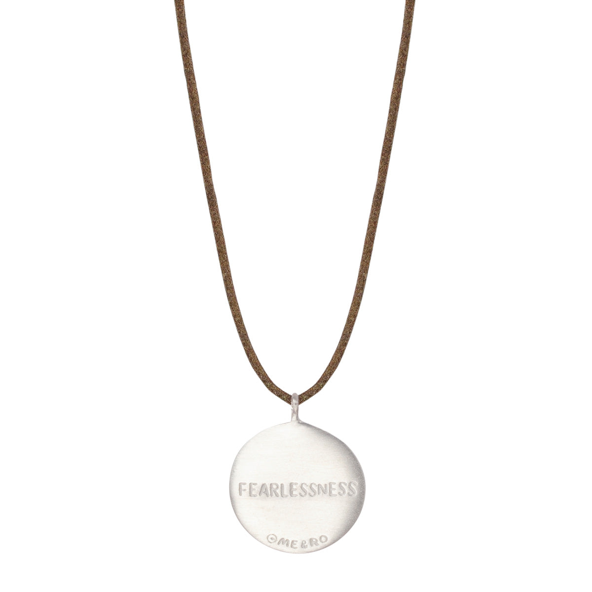 Sterling Silver Fearlessness Disc Pendant on Natural Cord