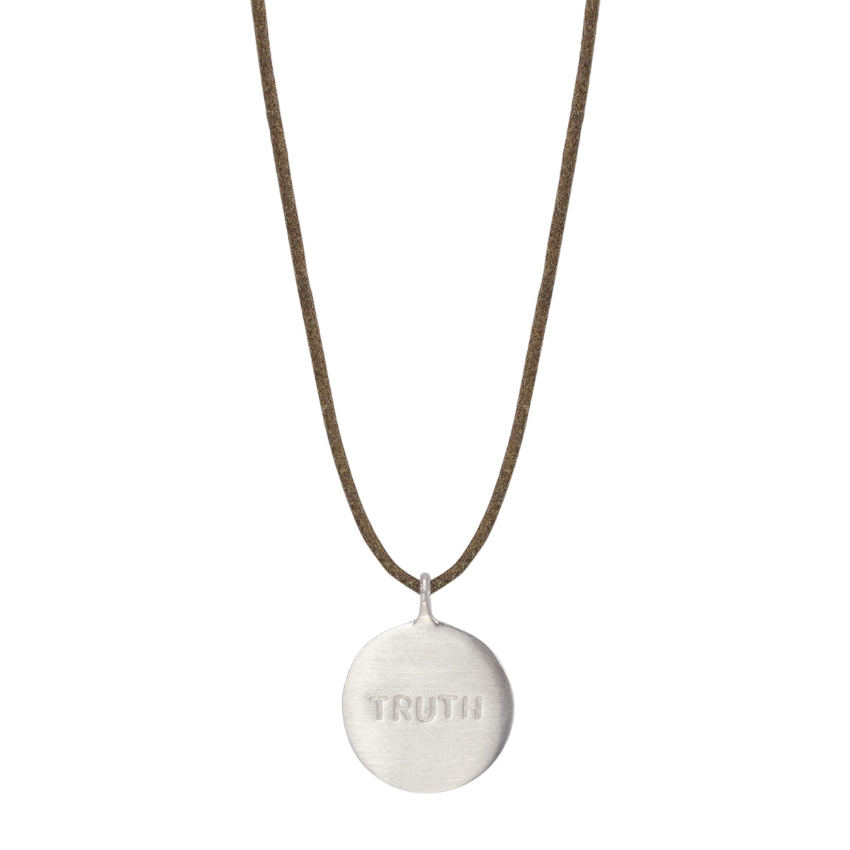 Sterling Silver Truth Disc Pendant on Natural Cord