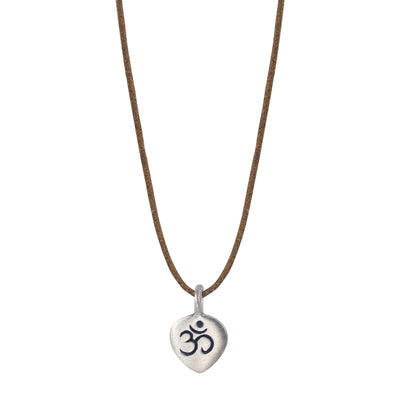 Sterling Silver Om Petal Pendant on Natural Cord