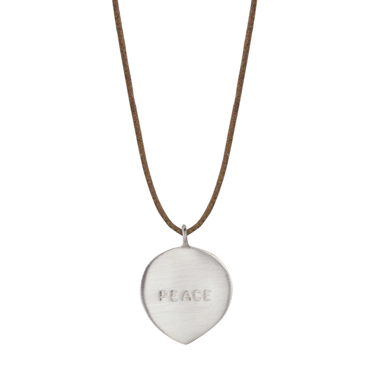 Sterling Silver Peace Petal Pendant on Natural Cord