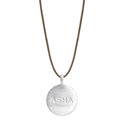Sterling Silver Asha 'Hope' Disc Pendant on Cord