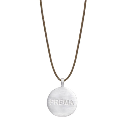 Sterling Silver Prema 'Divine Love' Disc Pendant on Cord