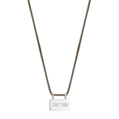 Sterling Silver Sattva 'Goodness' Slate Pendant on Cord