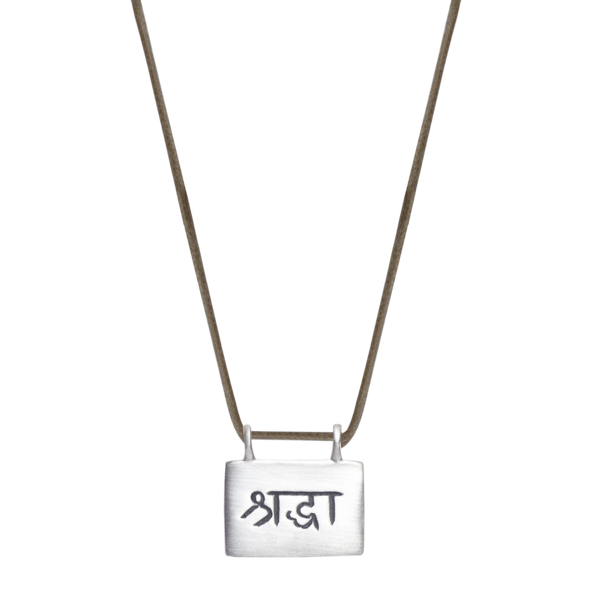 Sterling Silver Sraddha 'Faith' Slate Pendant on Cord
