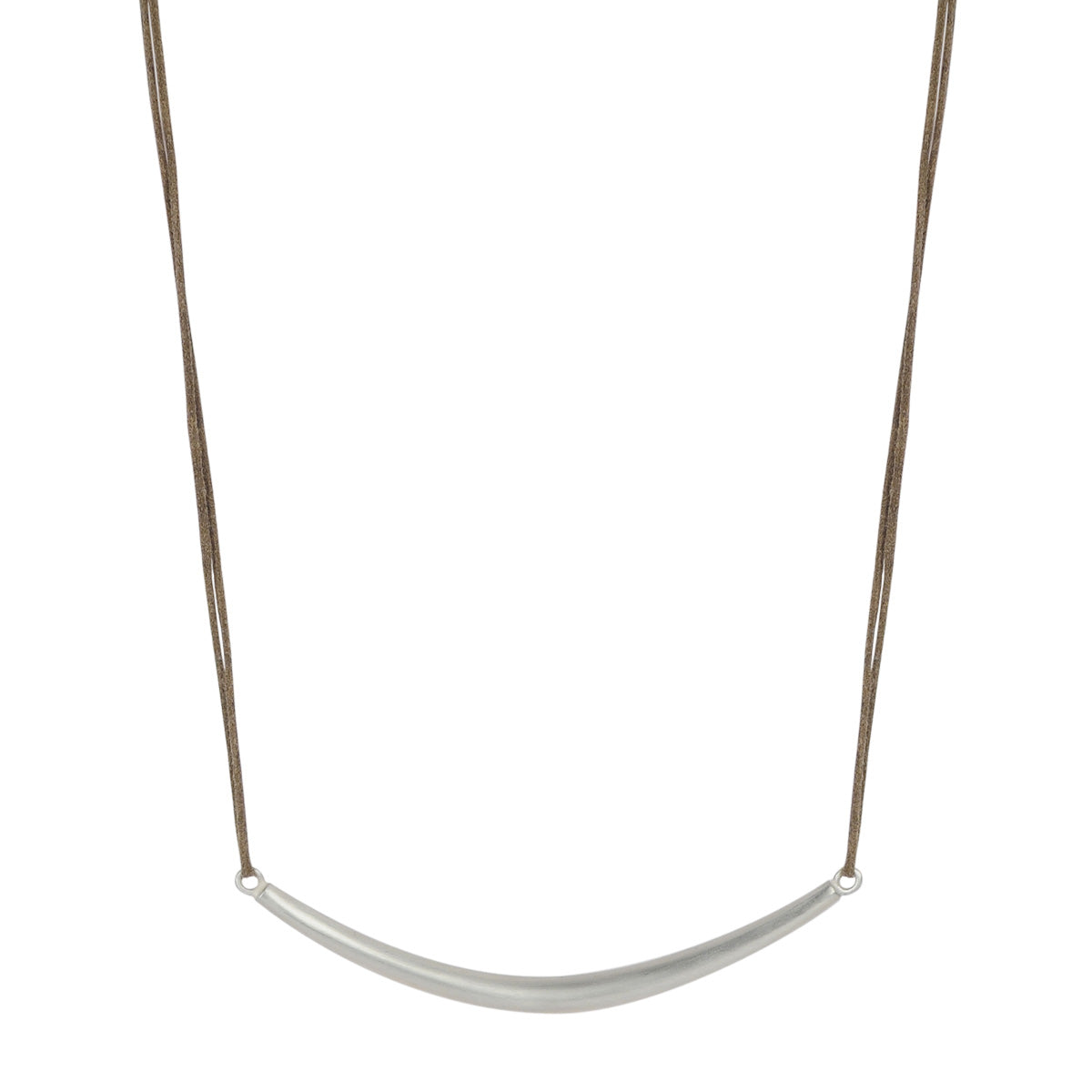 Sterling Silver Heavy Tibetan Bar Necklace on Cord