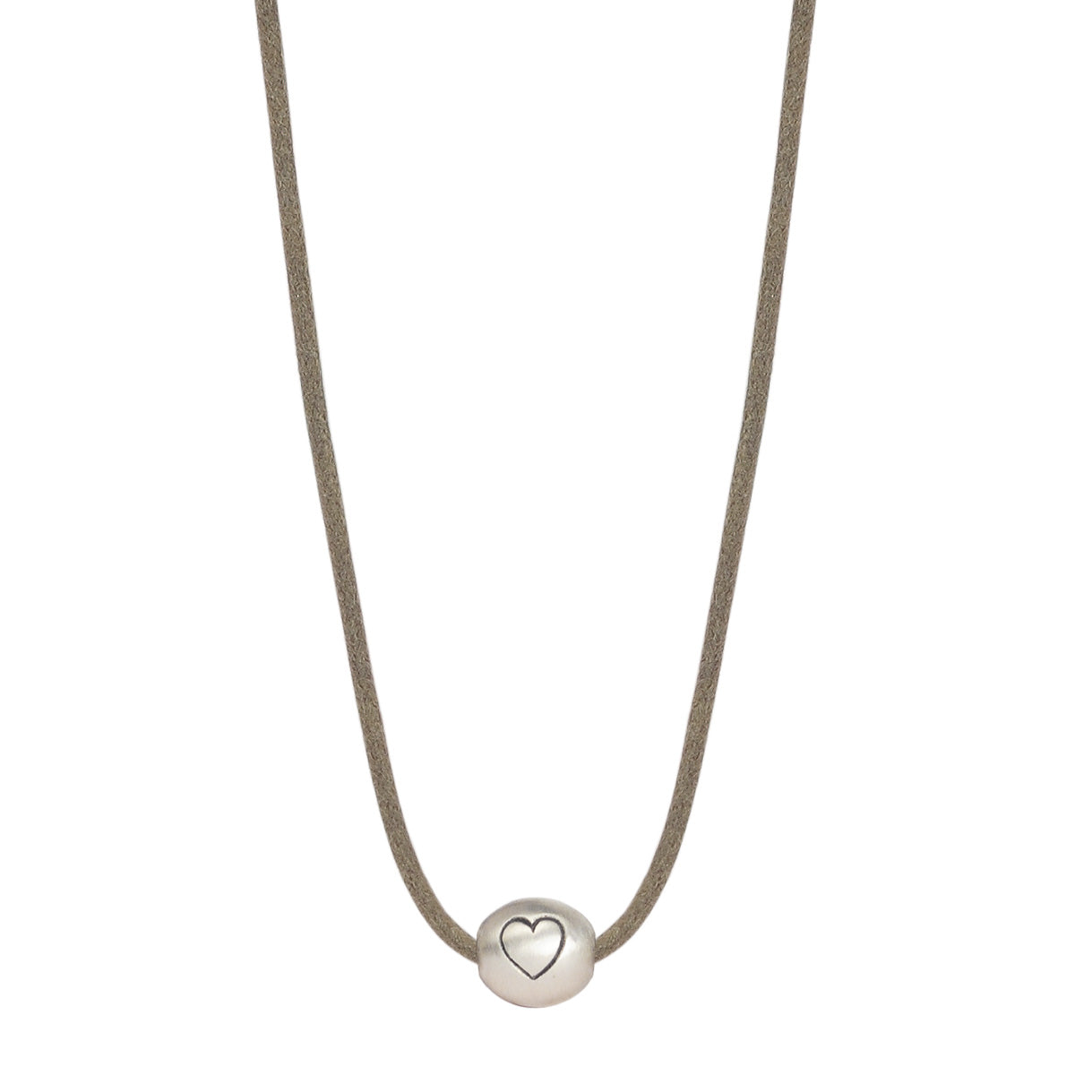 Sterling Silver Heart Bead Pendant on Cord