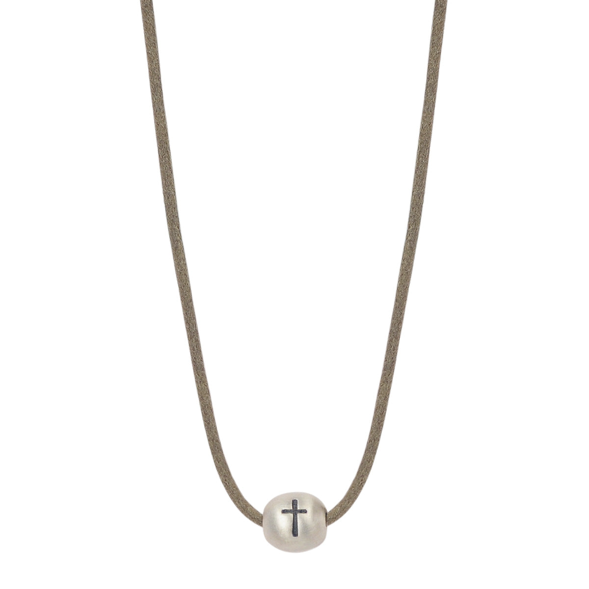 Sterling Silver Cross Bead Pendant on Cord