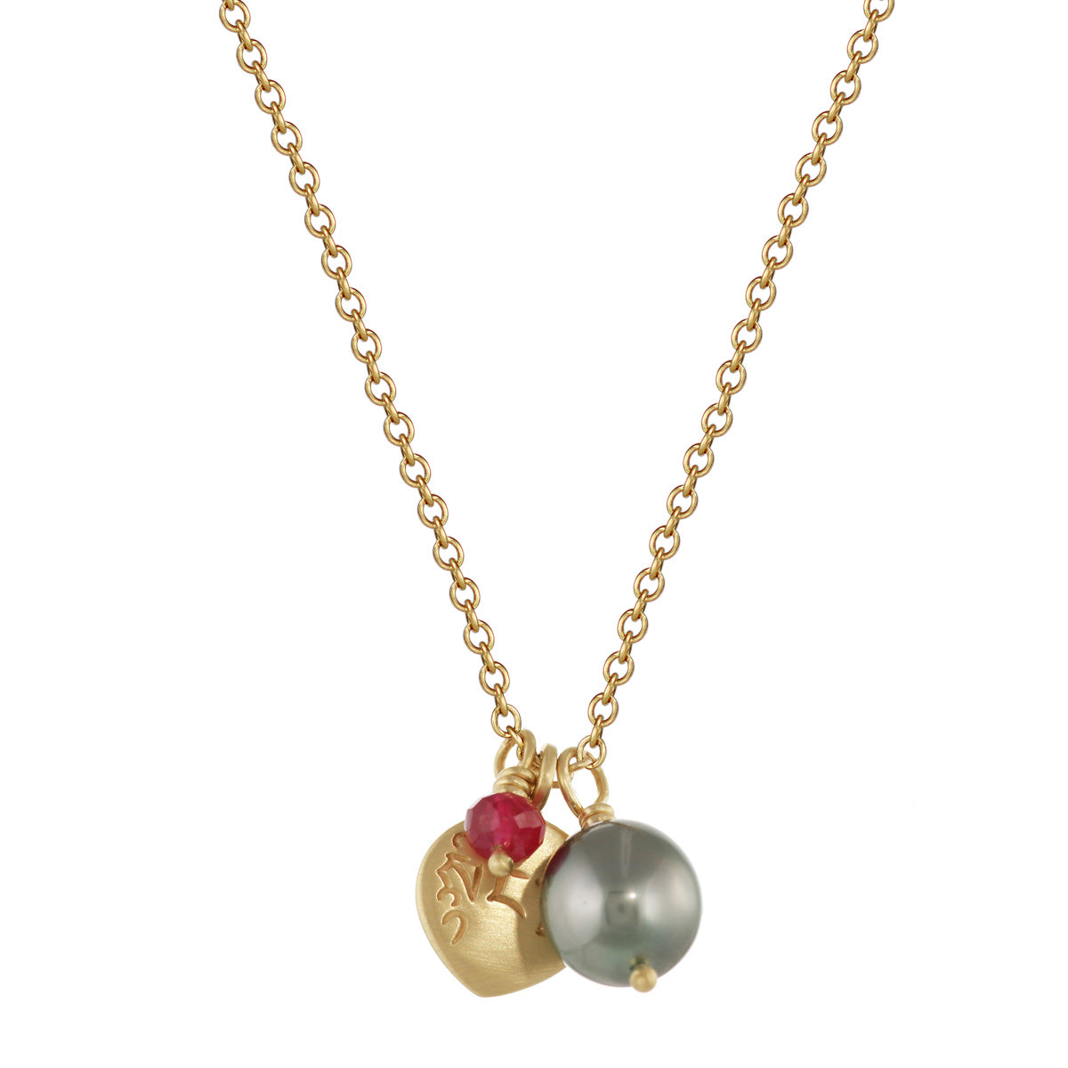 18K Gold Compassion Trinket Pendant with Tahitian Pearl and Ruby