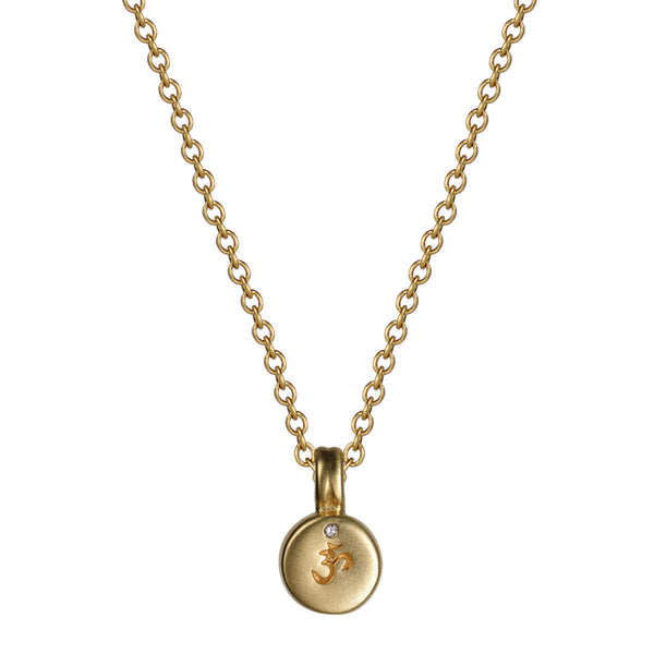 18K Gold Om Drum Pendant with Diamond