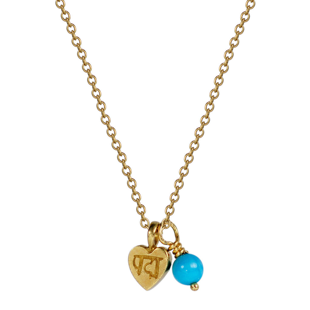 18K Gold Tiny Lotus Heart Pendant with Turquoise