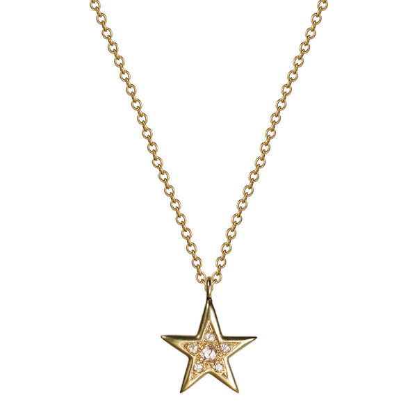 18K Gold Bombay Star Pendant with Diamonds