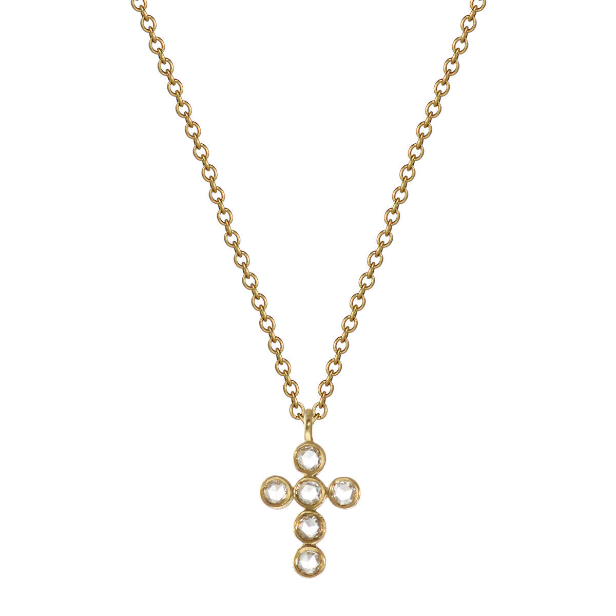 18K Gold Diamond Cross Pendant