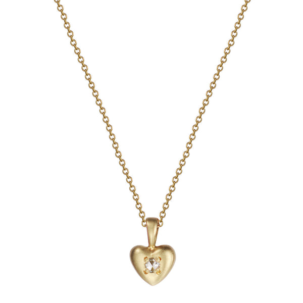 18K Gold Tiny Heart Pendant with Diamond
