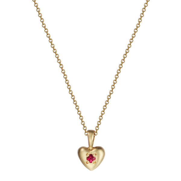 18K Gold Tiny Heart Pendant with Ruby