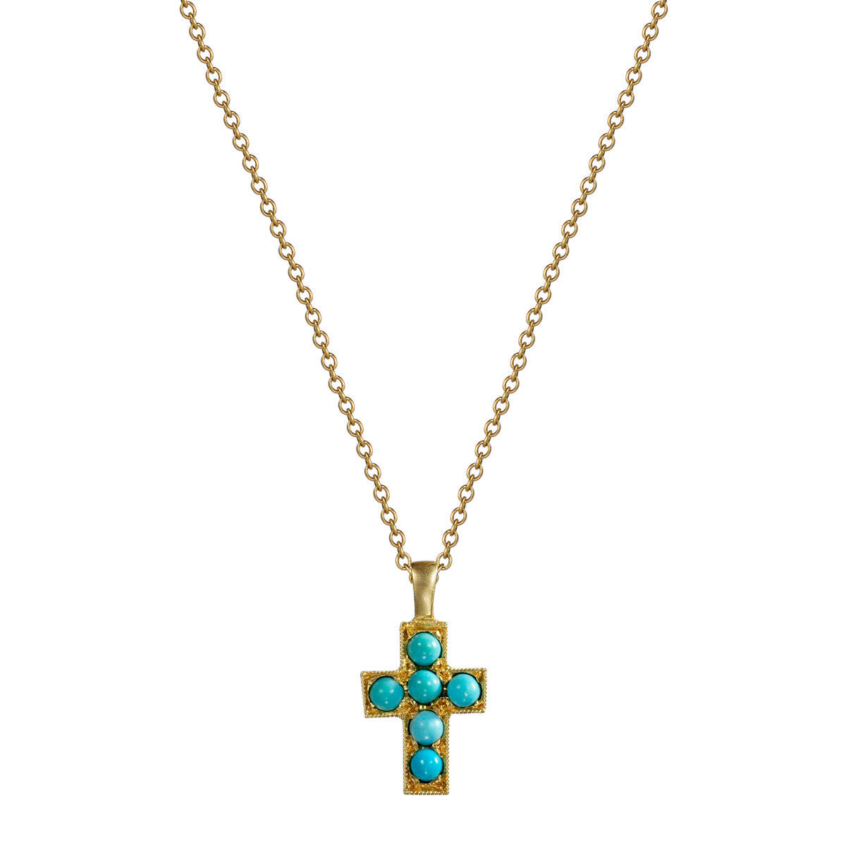 18K Gold Cross Pendant with Turquoise Stones