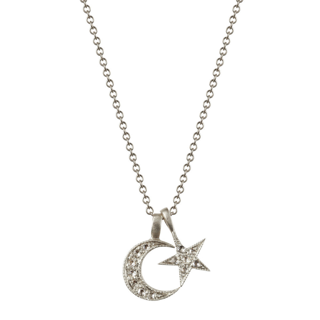 Platinum Crescent Moon and Star Pendant with Diamonds