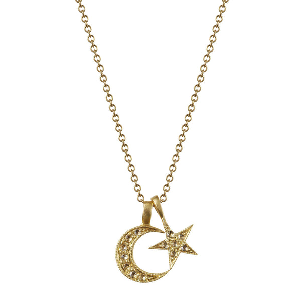 18K Gold Crescent Moon & Star Pendant with Diamonds