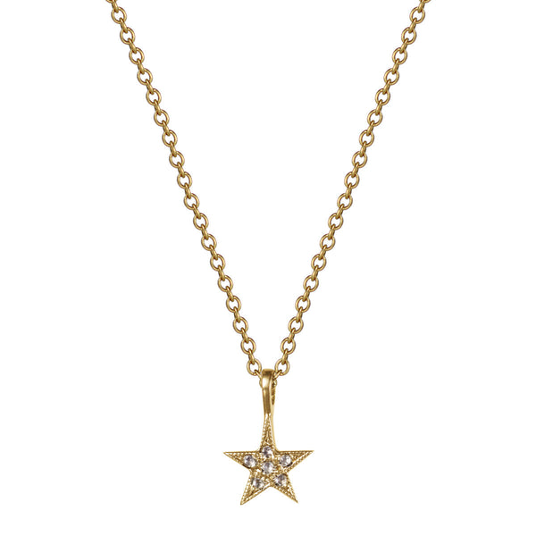 18K Gold Millgrain Star Pendant with Diamonds