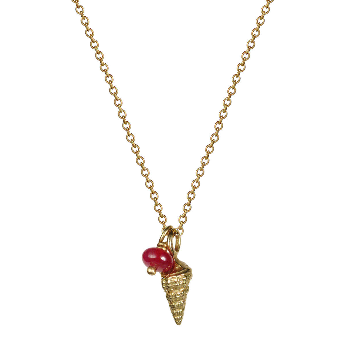 18K Gold Tiny Shell Pendant with Ruby