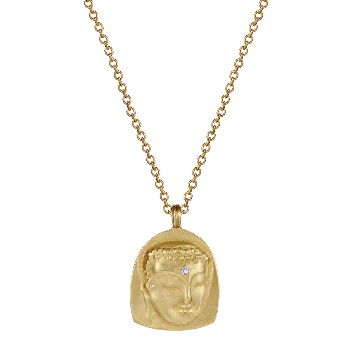 18K Gold Repouss̩é Buddha Pendant with Diamond