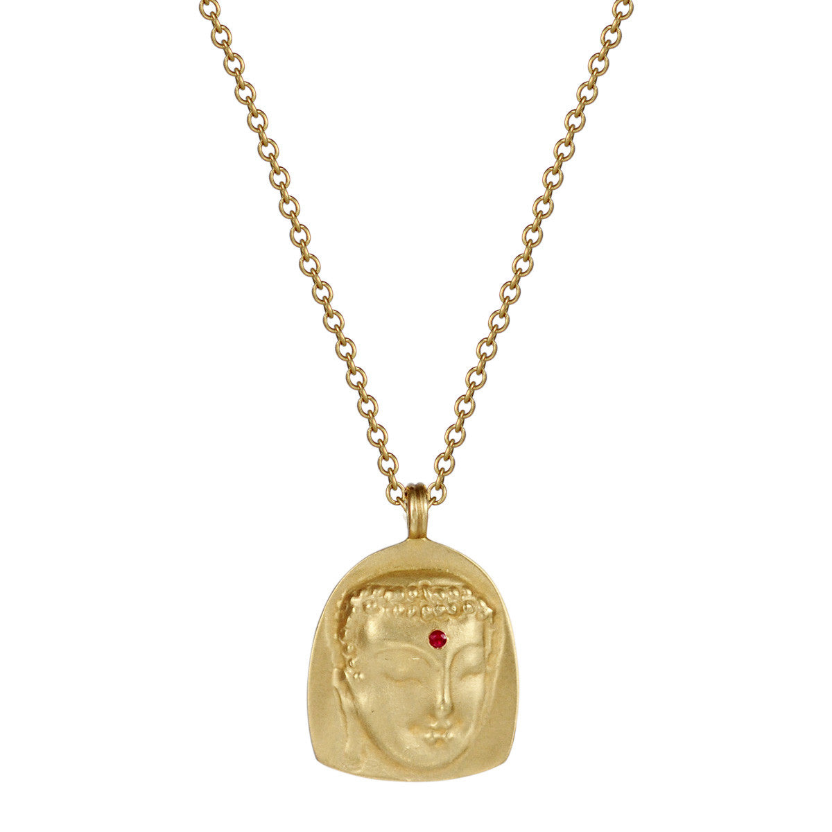18K Gold Repouss̩é Buddha Pendant with Ruby