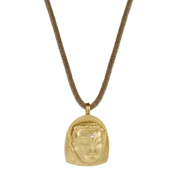 18K Gold Buddha Repouss̩é Pendant with Diamond on Cord