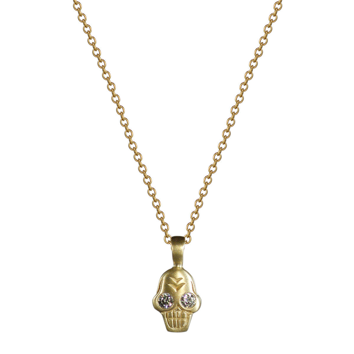 18K Gold Tiny Skull Charm Pendant with Diamonds