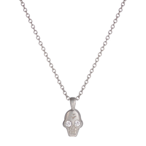 Platinum Tiny Skull Charm Pendant with Diamonds