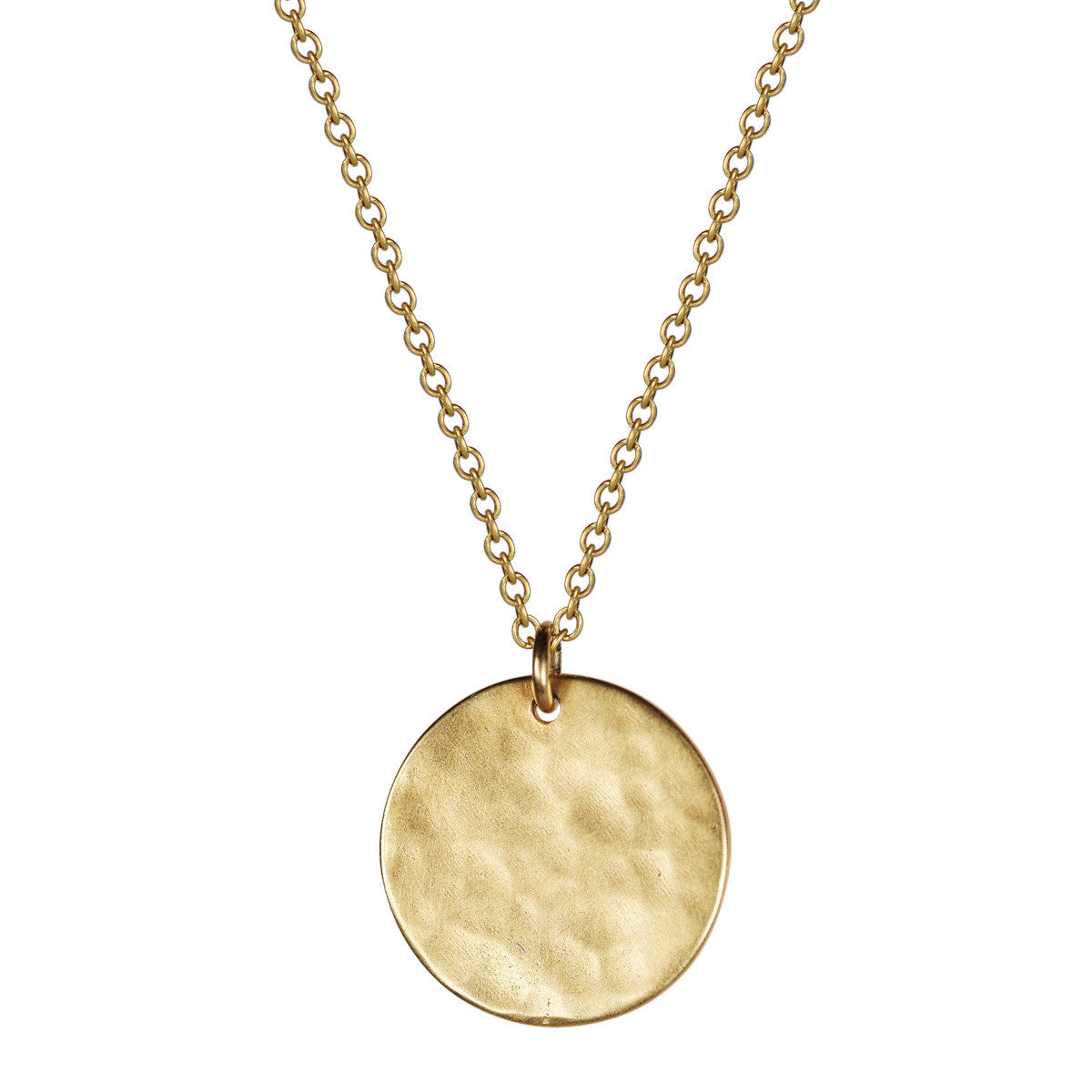 hammered circle necklace medallion pendant gold large texture product holes brass organic with