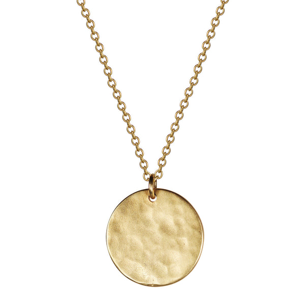 18K Gold Hammered Medallion Pendant