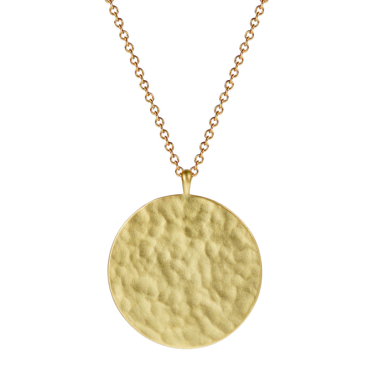 18K Gold Large Hammered Disc Pendant