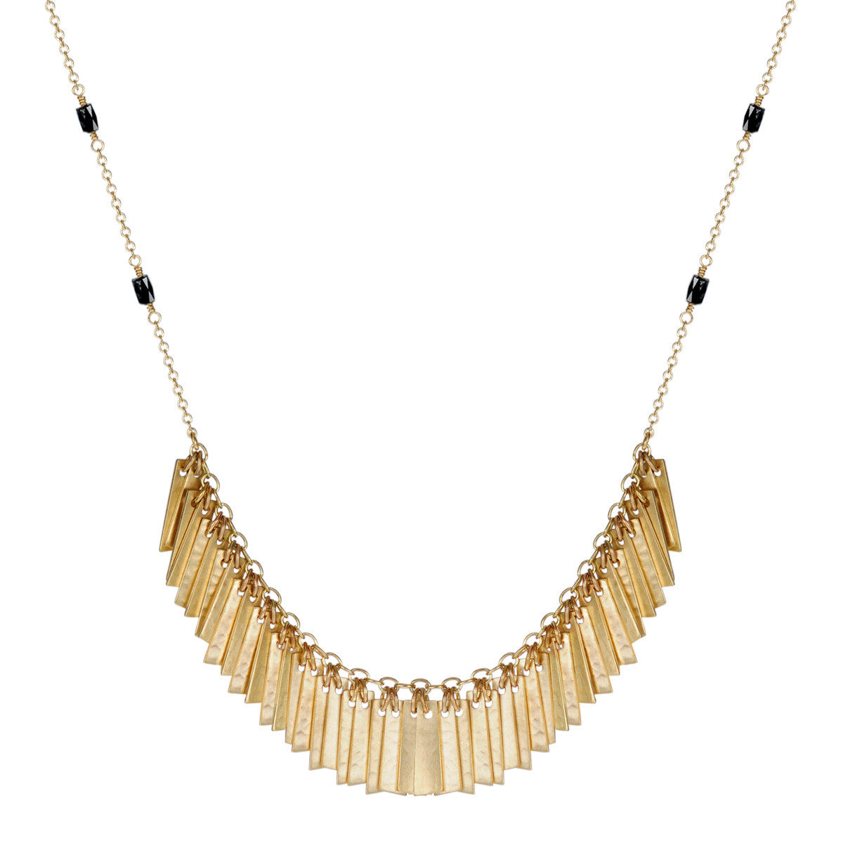 18K Gold Curtain Pendant on Black Diamond Beaded Chain
