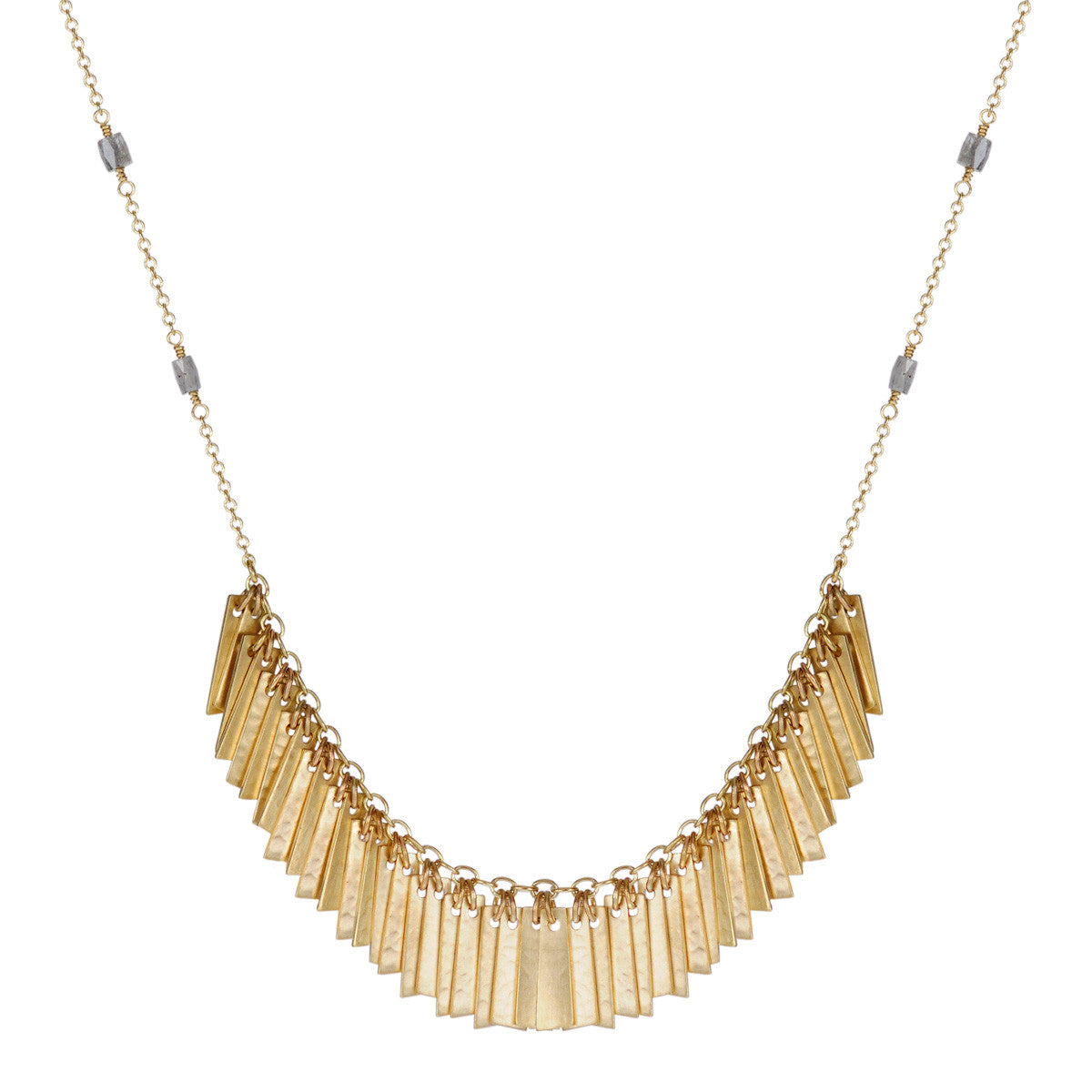 18K Gold Curtain Pendant on Opaque Diamond Beaded Chain