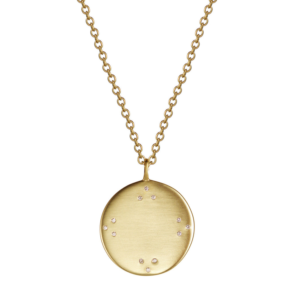 18K Gold Large Tibetan Mirror Pendant with Diamonds