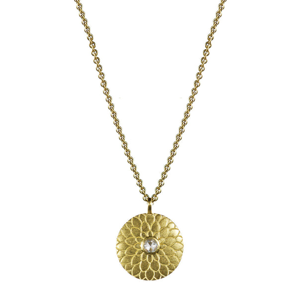 18K Gold Small Lotus Mandala Amulet with Diamond