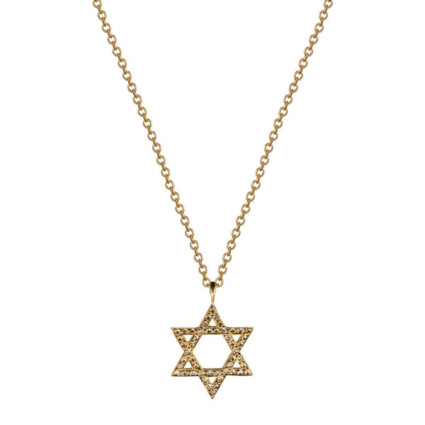 18K Gold Star of David Pendant with Diamonds