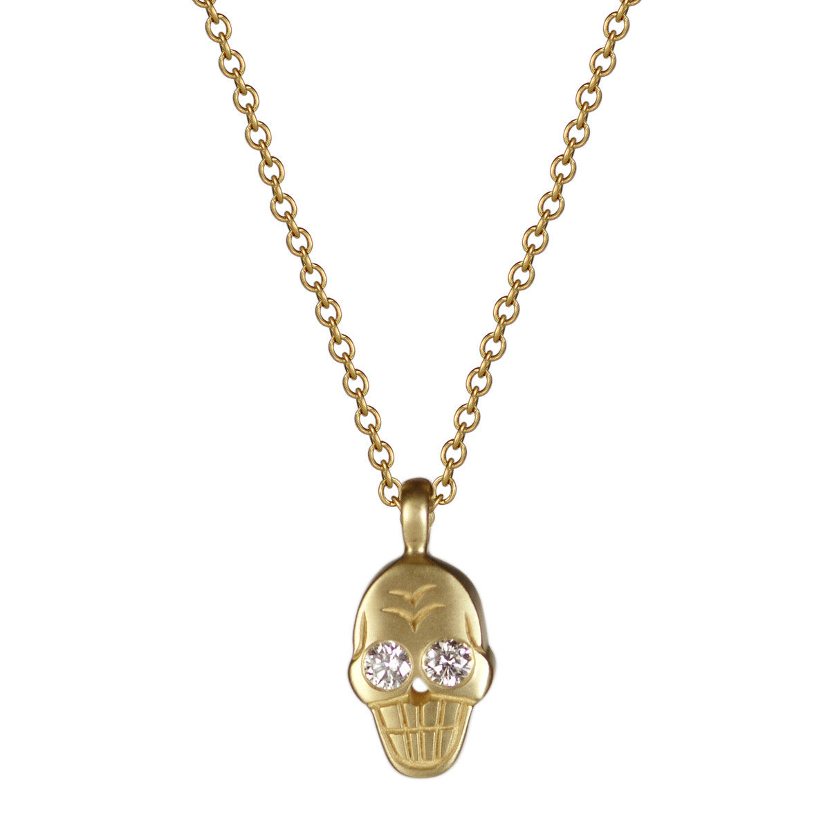 18K Gold Skull Pendant with Diamonds
