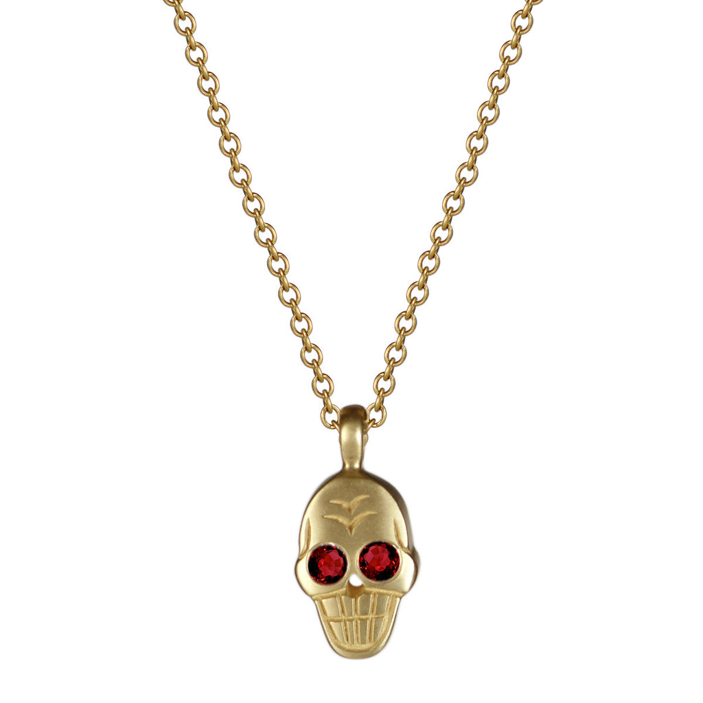 18K Gold Skull Pendant with Rubies