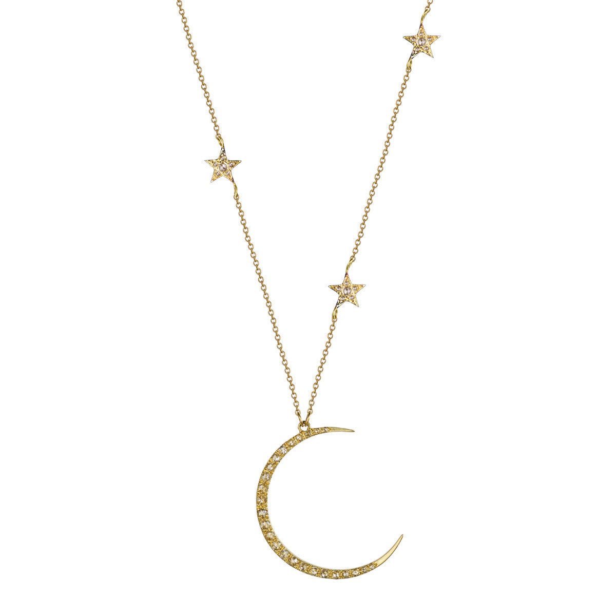 18K Gold Crescent Moon & Triple Star Pendant with Diamonds