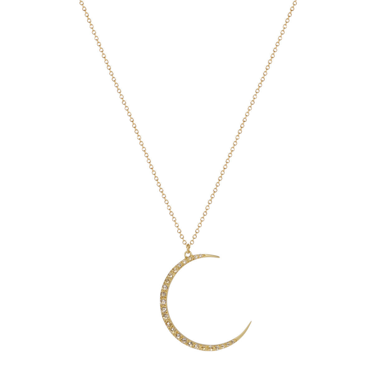 18K Gold Large Crescent Moon Pendant with Diamonds